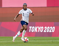KASHIMA, JAPAN - AUGUST 2: Crystal Dunn #2 of the USWNT dribbles during a game between Canada and USWNT at Kashima Soccer Stadium on August 2, 2021 in Kashima, Japan.