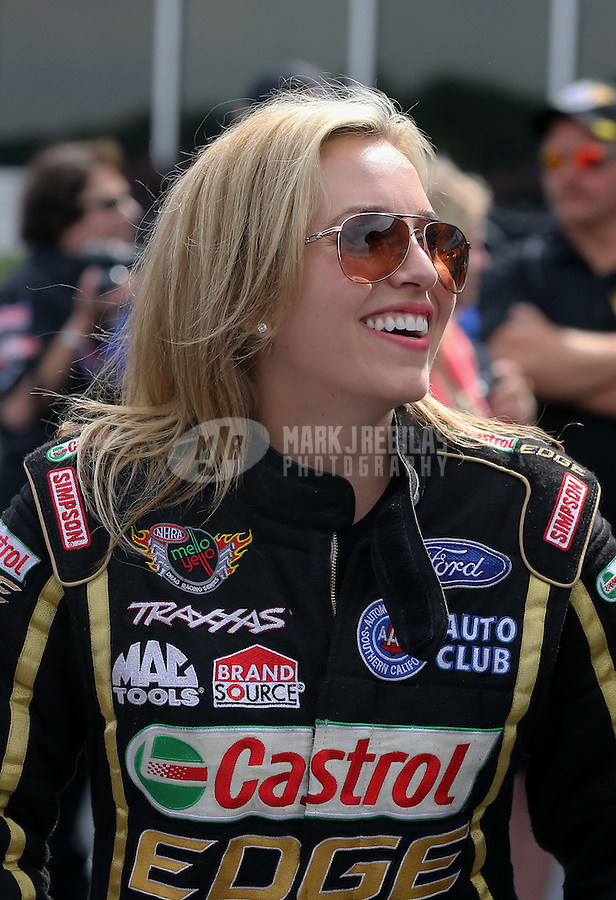 May 11, 2013; Commerce, GA, USA: NHRA top fuel dragster driver Brittany Force during the Southern Nationals at Atlanta Dragway. Mandatory Credit: Mark J. Rebilas-