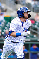Iowa Cubs third baseman Trent Giambrone (6) runs to first base during a Pacific Coast League game against the San Antonio Missions on May 2, 2019 at Principal Park in Des Moines, Iowa. Iowa defeated San Antonio 8-6. (Brad Krause/Four Seam Images)