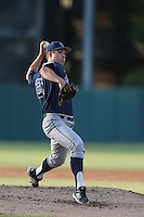 Evan Manarino #21of the UC Irvine Anteaters pitches against the Southern California Trojans at Dedeaux Field on April 29, 2014 in Los Angeles, California. Stanford defeated Southern California, 6-2. (Larry Goren/Four Seam Images)