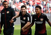 Leverkusen, Germany, 1. Football- BL,  match day 30,<br />Bayer Leverkusen - Eintracht Frankfurt 4-114 .04.2018  in Bay-Arena in Leverkusen<br />Kevin VOLLAND (LEV) 2.v.- celebration  and Jonathan TAH (LEV) - and Leon Patrick BAILEY (LEV) -<br /><br /> *** Local Caption *** © pixathlon<br /> Contact: +49-40-22 63 02 60 , info@pixathlon.de