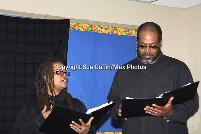 """KimDeon and Michael Davis are part of the cast of To Do List - Evern Gillard-Randolph, playwright and founder of Grandparents Around the World, presents her new play """"To Do List"""" in a first play reading on December 7, 2013 at the Salvation Army Harlem Corps, New York, New York.  (Photo by Sue Coflin/Max Photos)"""