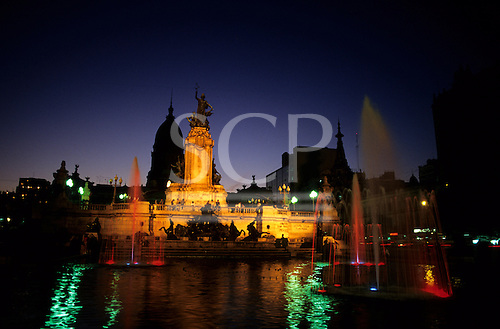 Buenos Aires, Argentina. The fountain in front of the Congress building lit up at night.