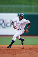 NW Arkansas Naturals second baseman Angel Franco (1) running the bases during a game against the San Antonio Missions on May 31, 2015 at Arvest Ballpark in Springdale, Arkansas.  NW Arkansas defeated San Antonio 3-1.  (Mike Janes/Four Seam Images)