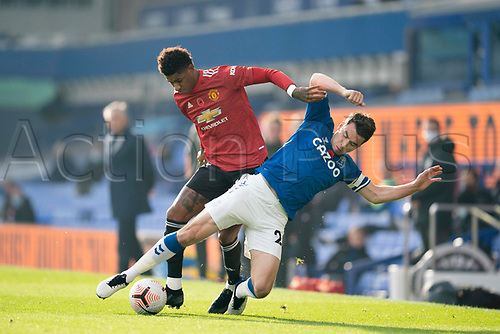 7th November 2020; Liverpool, England; Manchester Uniteds Marcus Rashford vies with Evertons Seamus Coleman during the Premier League match between Everton and Manchester United at Goodison Park Stadium