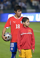 CARSON, CA – JANUARY 22: Chile forward Edson Puch (18) before the international friendly match between USA and Chile at the Home Depot Center, January 22, 2011 in Carson, California. Final score USA 1, Chile 1.