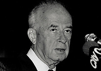 1989 FILE PHOTO - ARCHIVES -<br /> <br /> Defence minister, Israel's Yitzhak Rabin tells a Toronto news conference yesterday that his country has found ways to overcome obstacles in the past. We will find ways now.