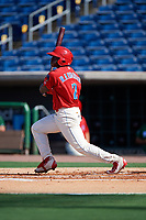 Clearwater Threshers left fielder Cornelius Randolph (2) follows through on a swing during the first game of a doubleheader against the Daytona Tortugas on July 25, 2017 at Spectrum Field in Clearwater, Florida.  Daytona defeated Clearwater 4-1.  (Mike Janes/Four Seam Images)