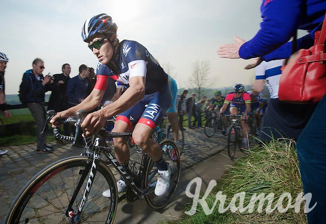 Heinrich Haussler (AUS/IAM) up the Paterberg (max 20%)<br /> <br /> 57th E3 Harelbeke 2014