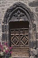 Europe/France/Auvergne/15/Cantal/Salers: Détail d'une vieille porte