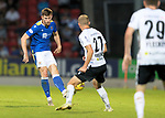 St Johnstone v Lask…26.08.21  McDiarmid Park    Europa Conference League Qualifier<br />Jamie McCart is closed down by Thomas Goiginger<br />Picture by Graeme Hart.<br />Copyright Perthshire Picture Agency<br />Tel: 01738 623350  Mobile: 07990 594431