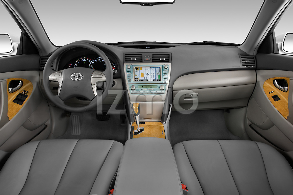 Straight dashboard view of a 2008 Toyota Camry XLE.