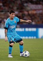Calcio, Champions League, Gruppo E: Roma vs Barcellona. Roma, stadio Olimpico, 16 settembre 2015.<br /> FC Barcelona's Lionel Messi in action during a Champions League, Group E football match between Roma and FC Barcelona, at Rome's Olympic stadium, 16 September 2015.<br /> UPDATE IMAGES PRESS/Isabella Bonotto<br /> <br /> *** ITALY AND GERMANY OUT ***