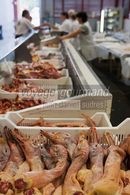 Europe/France/Aquitaine/40/Landes/ Dax: Détail d'un étal du marché  aux volailles aux halles place de la cathédrale