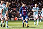 Lionel Messi of FC Barcelona (C) dribbles Daniel Wass of RC Celta de Vigo (L) during the La Liga 2017-18 match between FC Barcelona and RC Celta de Vigo at Camp Nou Stadium on 02 December 2017 in Barcelona, Spain. Photo by Vicens Gimenez / Power Sport Images