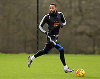 SWANSEA, WALES - JANUARY 28: Kyle Bartley moves the ball forward during the Swansea City Training Session on January 28, 2016 in Swansea, Wales.