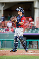 New Hampshire Fisher Cats catcher Patrick Cantwell (8) during a game against the Erie SeaWolves on June 20, 2018 at UPMC Park in Erie, Pennsylvania.  New Hampshire defeated Erie 10-9.  (Mike Janes/Four Seam Images)