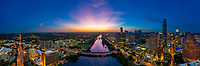 Stunning view of the Austin Skyline looking west over Lady Bird Lake during a beautiful sunset<br />