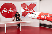 "Group CEO and founder of Air Asia, Anthony Francis ""Tony"" Fernandes (52) poses for a portrait at the Air Asia corporate office at the old airport, LCCT (Low Cost Carrier Terminal) in Kuala Lumpur, Malaysia."