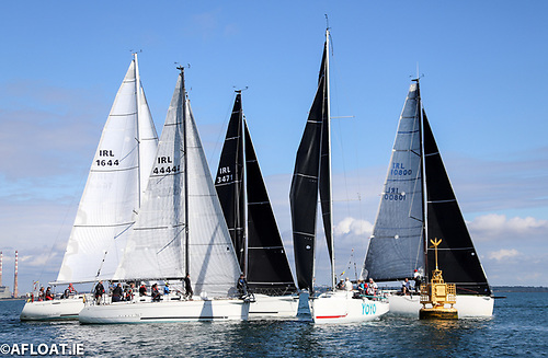 The fleet favoured the pin end for the the start of ISORA's Coastal Race Ten at Dun Laoghaire Harbour