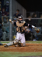 Riverview Rams catcher Kyle Upman (4) during a game against the Sarasota Sailors on February 19, 2021 at Rams Baseball Complex in Sarasota, Florida. (Mike Janes/Four Seam Images)