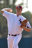 Trevor Megill #21 of the Loyola Marymount Lions pitches against the Cal Poly Mustangs at Page Stadium on February 25, 2012 in Los Angeles,California. Cal Poly defeated LMU 12-5.(Larry Goren/Four Seam Images)