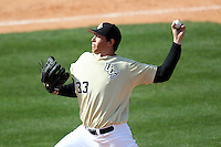 UCF Knights pitcher Harrison Hukari #33 delivers a pitch during a game against the Siena Saints at the UCF Baseball Complex on March 4, 2012 in Orlando, Florida.  Central Florida defeated Siena 15-2.  (Mike Janes/Four Seam Images)