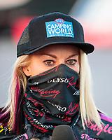 Nov 1, 2020; Las Vegas, Nevada, USA; NHRA pro stock motorcycle rider Angie Smith celebrates after winning the NHRA Finals at The Strip at Las Vegas Motor Speedway. Mandatory Credit: Mark J. Rebilas-USA TODAY Sports