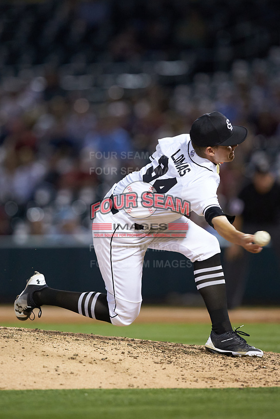 South Carolina Gamecocks relief pitcher Hunter Lomas (34) in action against the North Carolina Tar Heels at BB&T BallPark on April 3, 2018 in Charlotte, North Carolina. The Tar Heels defeated the Gamecocks 11-3. (Brian Westerholt/Four Seam Images)