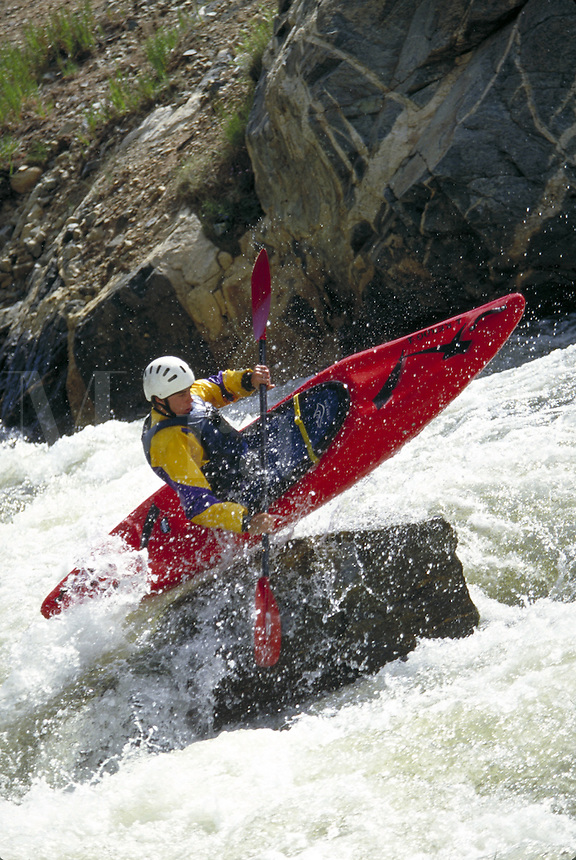 Kayaking, Man, Scenic, Sports, Lifestyle, River, Water, Exercise, Fitness, Extreme, Paddling, Kayak, Whitewater. Jono Stevens (MR 668). Backcountry Colorado United States Rocky Mountains, Ten Mile Creek, Summit County.
