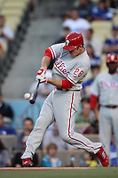 Chase Utley #26 of the Philadelphia Phillies bats against the Los Angeles Dodgers at Dodger Stadium on July 16, 2012 in Los Angeles, California. Philadelphia defeated Los Angeles 3-2. (Larry Goren/Four Seam Images)