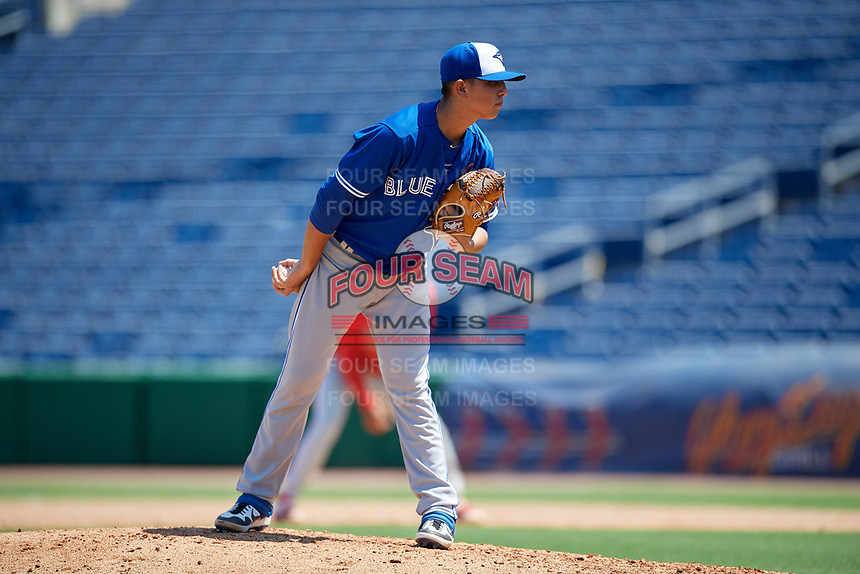 Toronto Blue Jays pitcher Jonatan Bernal (53) during an Instructional League game against the Philadelphia Phillies on September 17, 2019 at Spectrum Field in Clearwater, Florida.  (Mike Janes/Four Seam Images)