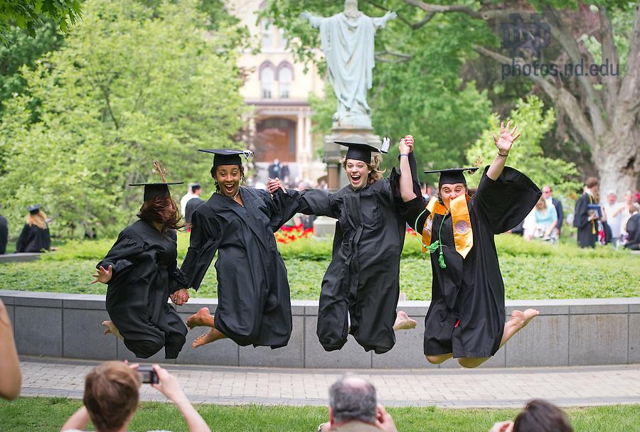 May 22, 2010; Graduates celebrate on Main Quad...Photo by Matt Cashore/University of Notre Dame