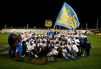 UCLA poses with the NCAA trophy after the NCAA Women's College Cup finals at WakeMed Soccer Park in Cary, NC.  UCLA defeated Florida State, 1-0, in overtime.