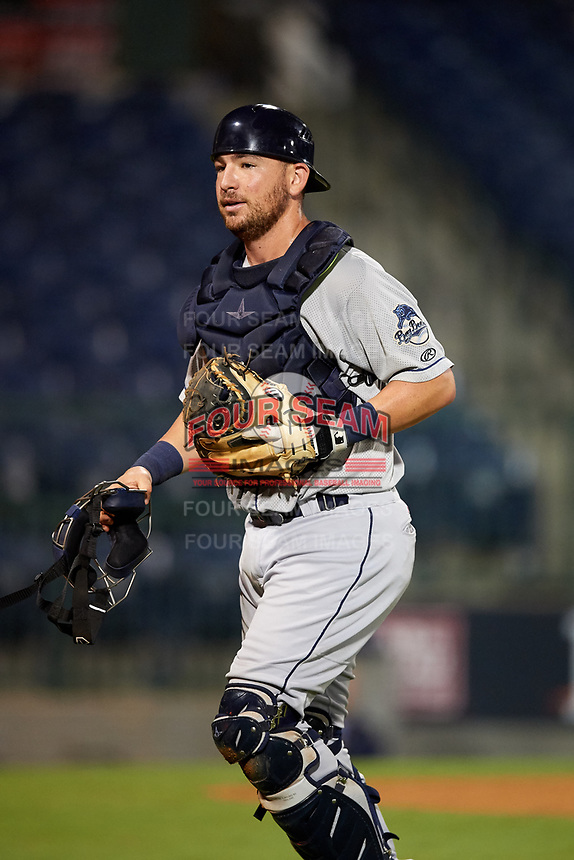 Mobile BayBears catcher Michael Barash (16) during a game against the Mississippi Braves on May 7, 2018 at Trustmark Park in Pearl, Mississippi.  Mobile defeated Mississippi 5-0.  (Mike Janes/Four Seam Images)