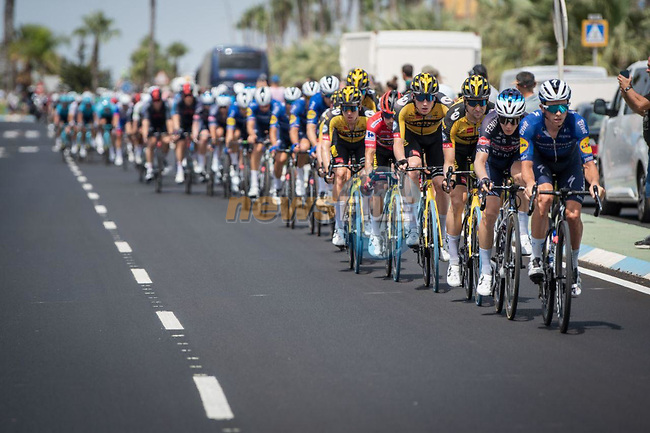 The peloton during Stage 8 of La Vuelta d'Espana 2021, running 173.7km from Santa Pola to La Manga del Mar Menor, Spain. 21st August 2021.     <br /> Picture: Cxcling | Cyclefile<br /> <br /> All photos usage must carry mandatory copyright credit (© Cyclefile | Cxcling)