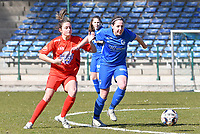 midfielder Lorene Martin (6) of KRC Genk battles for the ball with Kenza Vrithof (9) of Woluwe during a female soccer game between FC Femina White Star Woluwe and KRC Genk on the 17 th matchday of the 2020 - 2021 season of Belgian Scooore Womens Super League , Saturday 20 th of March 2021  in Woluwe , Belgium . PHOTO SPORTPIX.BE | SPP | JILL DELSAUX