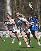 Newton, Massachusetts - April 4, 2015: NCAA Division I. Duke University (blue) defeated Boston College (white), 13-8, on Newton Campus Field at Boston College.