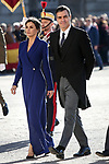 Queen Letizia of Spain (l) and Pedro Sanchez, President of the Government of Spain attend the New Year Military parade 2020 celebration at the Royal Palace. January 6,2020. (ALTERPHOTOS/Pool)