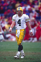 SAN FRANCISCO, CA - Quarterback Brett Favre of the Green Bay Packers in action during The NFC Championship Game against the San Francisco 49ers at Candlestick Park in San Francisco, California in 1998. Photo by Brad Mangin