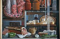 Europe/France/Rhône-Alpes/69/Rhône/Lyon: La fresque des lyonnais rue de la Martinière - Gastronomie lyonnaise - Fromages et charcuteries  régionnaux [Non destiné à un usage publicitaire - Not intended for an advertising use]