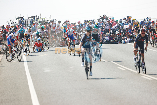 Huge crash involving half the peloton during Stage 5 of La Vuelta d'Espana 2021, running 184.4km from Tarancón to Albacete, Spain. 18th August 2021.    <br /> Picture: Luis Angel Gomez/Photogomezsport | Cyclefile<br /> <br /> All photos usage must carry mandatory copyright credit (© Cyclefile | Luis Angel Gomez/Photogomezsport)