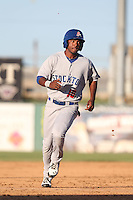 Aaron Shipman #10 of the Stockton Ports runs the bases during a game against the Lancaster JetHawks at The Hanger on June 24, 2014 in Lancaster, California. Stockton defeated Lancaster, 6-4. (Larry Goren/Four Seam Images)