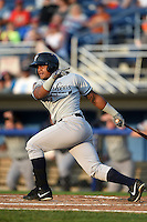 Staten Island Yankees designated hitter Isaias Tejeda (27) at bat during a game against the Batavia Muckdogs on August 8, 2014 at Dwyer Stadium in Batavia, New York.  Staten Island defeated Batavia 4-2.  (Mike Janes/Four Seam Images)