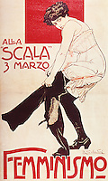 Poster featuring a feminist meeting at La Scala in Milan, March 3, 1906