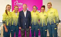 April 17, 2015, Netherlands, Den Bosch, Maaspoort, Fedcup Netherlands-Australia, Draw,  Australian team with vice president<br /> Photo: Tennisimages/Henk Koster