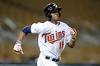 Glendale Desert Dogs outfielder Byron Buxton (15), of the Minnesota Twins organization, during an Arizona Fall League game against the Salt River Rafters on October 16, 2013 at Camelback Ranch in Phoenix, Arizona.  Glendale defeated Salt River 8-6.  (Mike Janes/Four Seam Images)