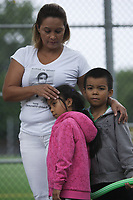 August 9, 2012 File Photo - Montreal (Quebec) CANADA - The mother and family of Freddy Villanueva commerate his death.<br /> <br /> He was shot in 2008 in a scuffle involving gang members and 2policemen who where arresting his brother.