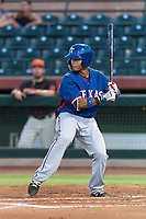 AZL Rangers first baseman Fernando Valdez (46) at bat during an Arizona League game against the AZL Giants Black at Scottsdale Stadium on August 4, 2018 in Scottsdale, Arizona. The AZL Giants Black defeated the AZL Rangers by a score of 6-3 in the second game of a doubleheader. (Zachary Lucy/Four Seam Images)