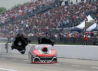 Apr 26, 2014; Baytown, TX, USA; NHRA pro stock driver V. Gaines during qualifying for the Spring Nationals at Royal Purple Raceway. Mandatory Credit: Mark J. Rebilas-